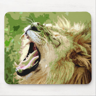 African Lion Roaring Mouse Pad