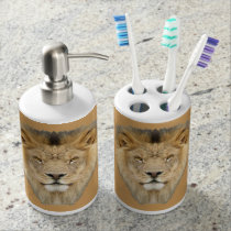 African Lion Soap Dispenser And Toothbrush Holder