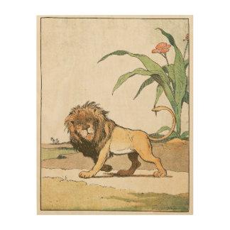 African Lion with Bushy Mane Wood Wall Decor