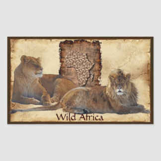 AFRICAN LIONS Big Five Map of Africa Stickers