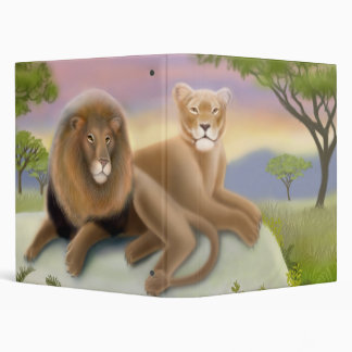 African Lions Relaxing in the Wild 3 Ring Binder