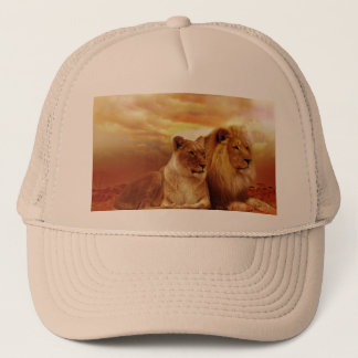 African lions - safari - wildlife trucker hat