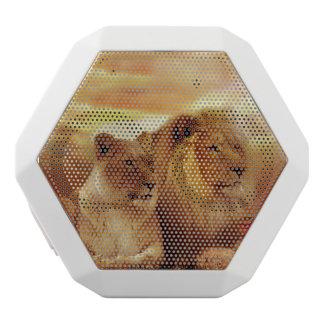 African lions - safari - wildlife white bluetooth speaker