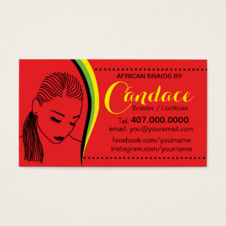 African Loctician Hair Braider Salon Business Card