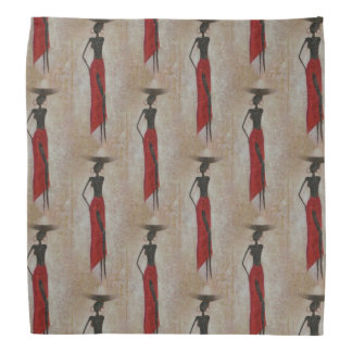 African Maiden Water Carriers African Women in Red Bandana