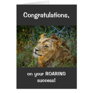 African male lion congratulations roaring success greeting card