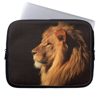 African Male Lion Laptop Sleeve - by Steven Holt