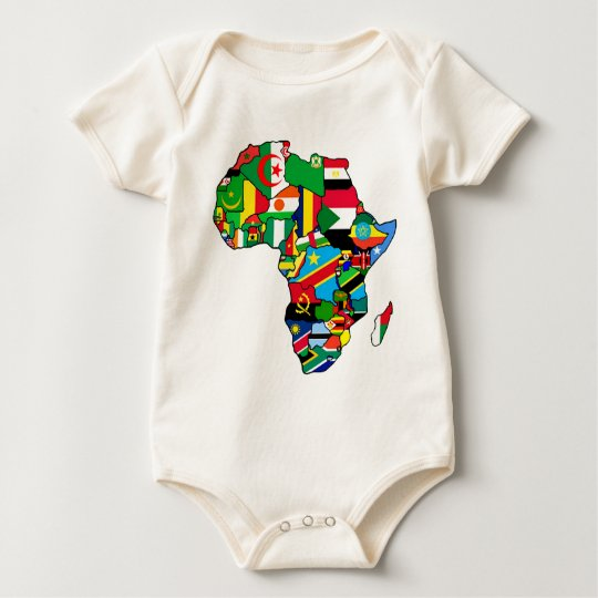 African Map of Africa flags within country maps Baby Bodysuit