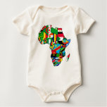 African Map of Africa flags within country maps Bodysuits