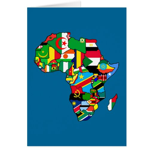 African Map of Africa flags within country maps Card