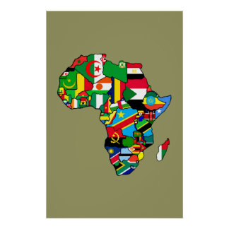 African Map of Africa flags within country maps Poster