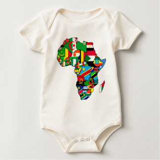 African Map of Africa flags within country maps Romper