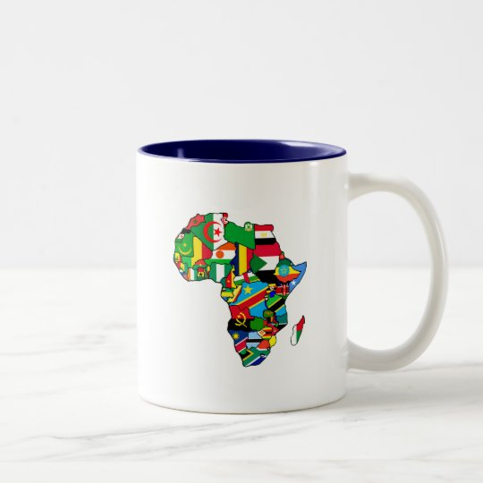 African Map of Africa flags within country maps Two-Tone Coffee Mug