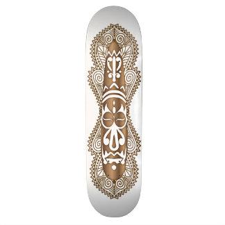 African Mask in Wood Grain - 4 - Skateboard