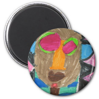 African mask 2 inch round magnet