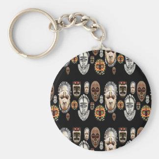 African Mask Original Pattern Basic Round Button Keychain