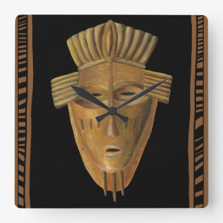 African Mask Painting by Chariklia Zarris Square Wall Clock