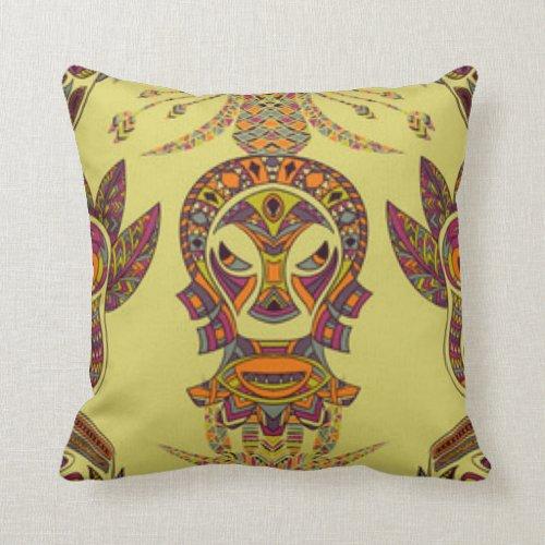 African Mask Pattern Print Design Throw Pillow