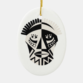 African mask primitive folk art ceramic ornament