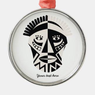 African mask primitive folk art metal ornament