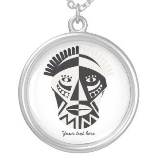 African mask primitive folk art silver necklace