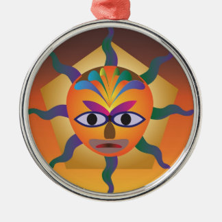African Mask Round Metal Christmas Ornament