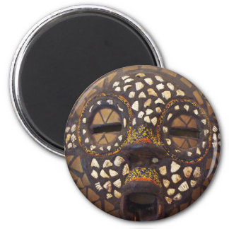 African mask with cowrie shells 2 inch round magnet