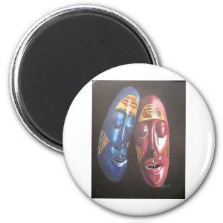 african masks 2 inch round magnet