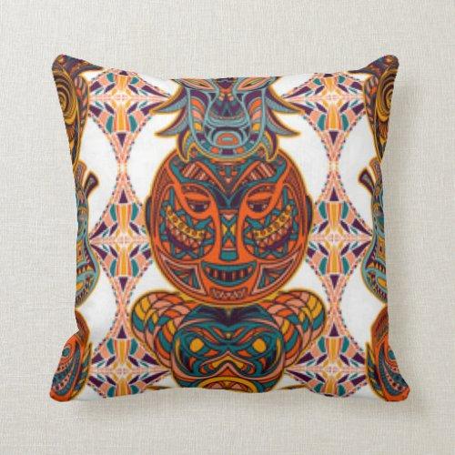 African Masks Pattern Print Design Pillow