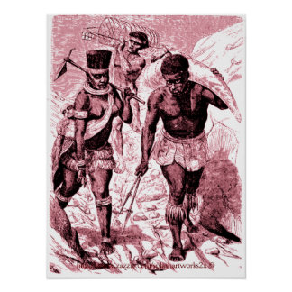 African men & women captives porters -1860's poster