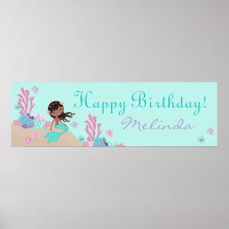 African Mermaid Birthday Banner Posters