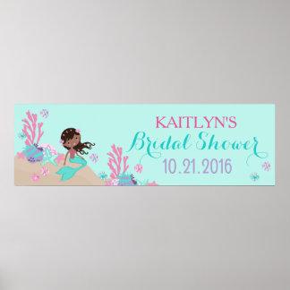 African Mermaid Bridal Shower Banner Poster