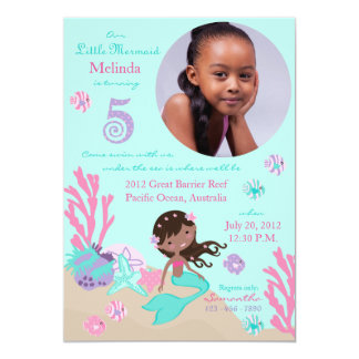 African Mermaid Fifth Birthday Personalized Invites