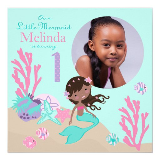 African Mermaid First Birthday Personalized Invitation