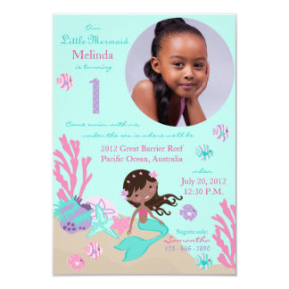 African Mermaid First Birthday Invitation