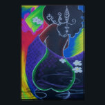 """African Moon - Miami Tile Print<br><div class=""""desc"""">African Moon - Miami Tile Print - digital art by Hertz Nazaire from """"African Moon"""" oil pastel.</div>"""