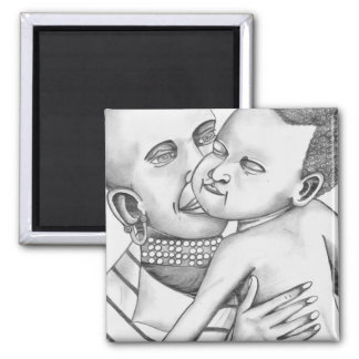 African Mother and Child (Kimberly Turnbull Art) 2 Inch Square Magnet