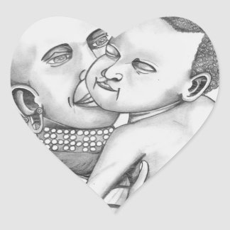 African Mother and Child (Kimberly Turnbull Art) Heart Sticker