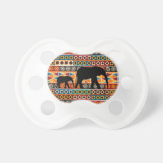 African Motif Colorful Pattern Mom & Baby Elephant Pacifiers
