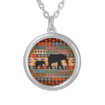 African Motif Colorful Pattern Mom & Baby Elephant Round Pendant Necklace