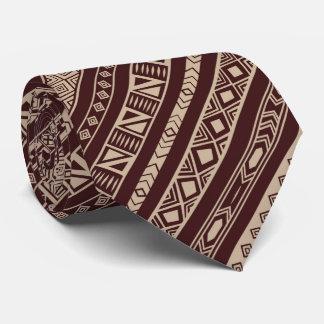 African Motif,Diagonal Design, Brown, Mans Tie