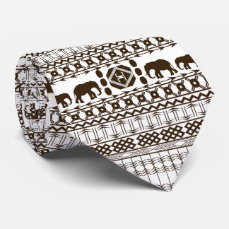 African Motif, Light Gray, Horizontal Stripes Tie