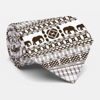 African Motif, Light Gray, Horizontal Stripes Tie