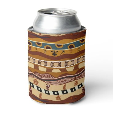 Aztec Themed African Motifs Ethnic Art Earth Tone Can Cooler