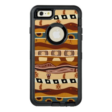 Aztec Themed African Motifs Ethnic Art Earth Tone OtterBox Defender iPhone Case