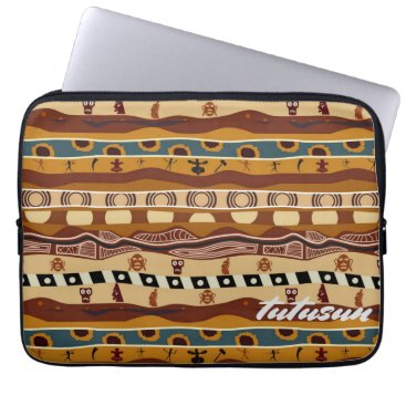 Aztec Themed African Motifs Ethnic Art Earth Tone Personalized Computer Sleeve