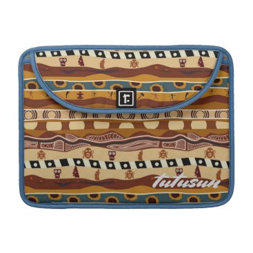 Aztec Themed African Motifs Ethnic Art Earth Tone Personalized MacBook Pro Sleeve