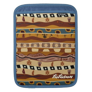 Aztec Themed African Motifs Ethnic Art Earth Tone Personalized Sleeve For iPads