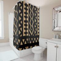 African Mud Cloth Motif Shower Curtain