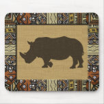African Mudcloth and Rhino Mouse Pad